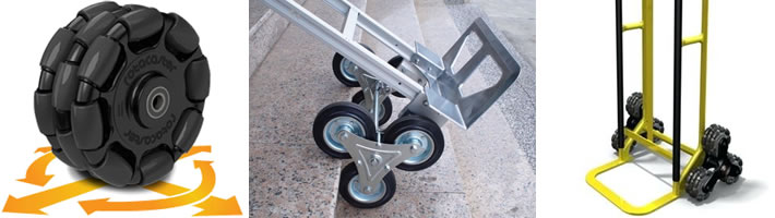 A composite image showing three plastic wheels stacked next to one another.  Each wheel has eight rounded cylinders on the outter edge and arrows showing the combined wheel has mobility in all directions.  The second image shows a moving dolly with two sets of three wheels arranged in a triangle, so the dolly can go up stairs.  The last image shows a similar dolly, but with the wheels from the first image.